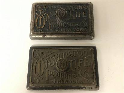 (2) OLD IRON & BRASS ADVERTISING PAPERWEIGHTS FOR - THE