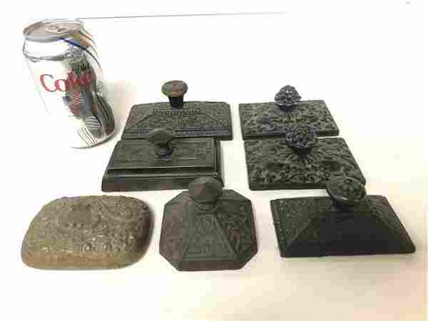 (7) OLD IRON VICTORIAN ERA PAPERWEIGHTS FROM ESTATE IN
