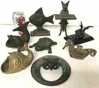 (8) OLDER BRASS AND IRON FIGURAL ANIMALS, FISH, ETC.