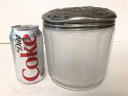 GENE-VALL HAVANA CIGAR CO. GLASS JAR WITH METAL LID,