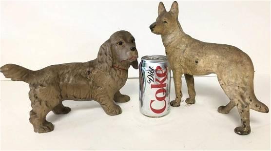 (2) VINTAGE CAST IRON DOG DOORSTOPS, FROM BROOKLYN NY