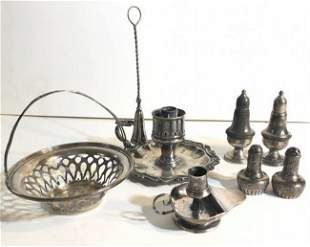 MISC. STERLING SILVER & SILVERPLATE LOT, INCLUDES SMALL