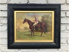 HENRY STULL (1851-1913) O/C JOCKEY ON HORSE, SIGNED