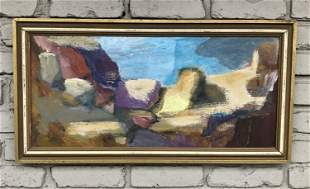 MID CENTURY O/C ABSTRACT, SIGNED ANN HEINEN, IN NICE