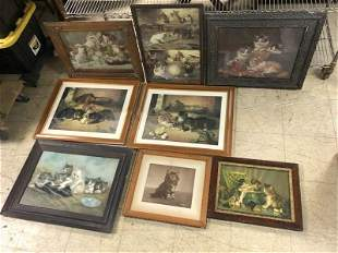 (8) OLD CAT PRINTS, MOST TURN OF THE CENTURY, GOOD