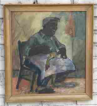 FOLKY O/B SMILING BLACK MAN IN CHAIR PLUCKING A