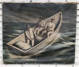 JAMES MICHAEL NEWELL (1900-1985) O/C 3 MEN IN ROWBOAT,