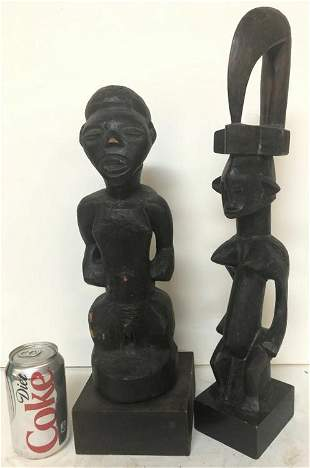 (2) OLD AFRICAN FIGURES, FROM WOODSTOCK, N,Y. ESTATE,