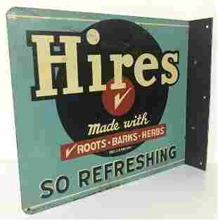 HIRES DOUBLE SIDED FLANGE METAL SIGN, CIRCA 1940'S,