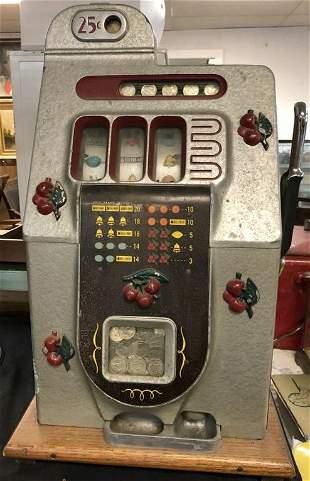 MILLS BLACK CHERRY SLOT MACHINE, WORKS FINE FROM ESTATE