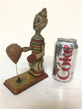 J CHEIN TIN LITHO WIND UP CLOWN WITH PUNCHING BAG, NO