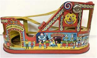J CHEIN TIN LITHO ROLLER COASTER WITH 2 CARS, BRIGHT