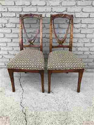 PR OF NOUVEAU SIDE CHAIRS W/CARVINGS ON BACK & LEGS,