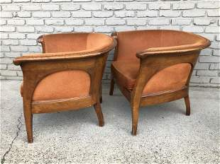 FABULOUS PR NOUVEAU ARMCHAIRS W/WOOD BACKS, FROM ALBANY
