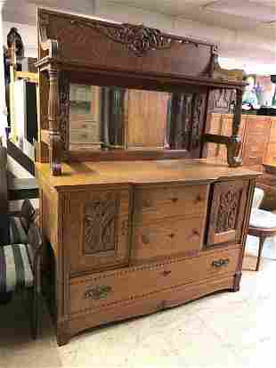 BEAUTIFUL CARVED QUARTER SEWN OAK SIDEBORD WITH DOUBLE