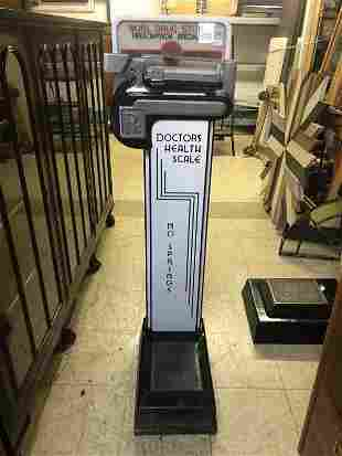 COIN-OP DOCTORS HEALTH SCALE WITH ADVERTISING TOP, WOHL