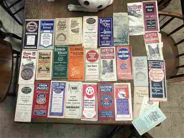 (28) EARLY RAILROAD TIME TABLES, FOUND IN ATTIC OF OLD