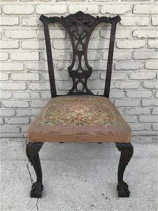 EARLY CHIPPENDALE STYLE CLAWFOOT SIDECHAIR, NICE