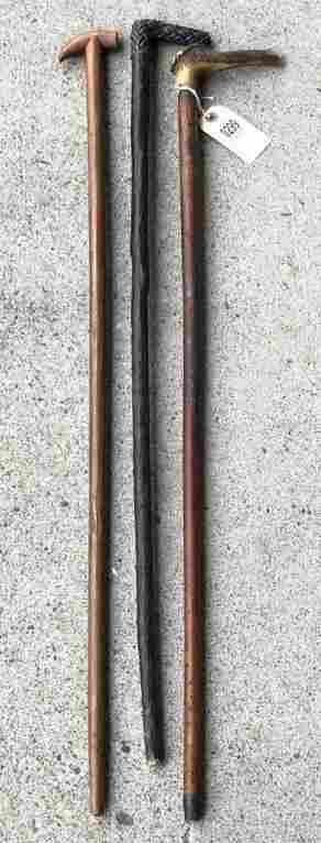(3) OLD WALKING STICKS OR CANES FROM PPROVIDENCE R I