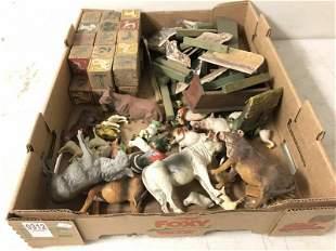 ESTATE BOXLOT OLD COMPOSITION FARM ANIMALS, CARDBOARD