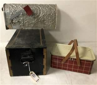 (3) PC. ESTATE LOT INCLUDING COOL MAILBOX, OLD SAFE