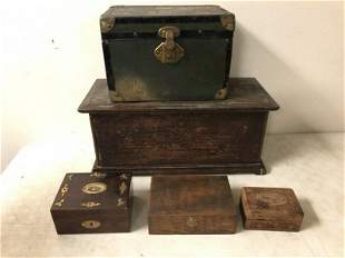 (5) PC. ESTATE LOT- OLD DOLL TRUNK WITH PULL OUT LID,