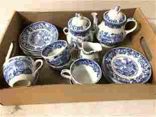 ANTIQUE CHILDS BLUE & WHITE TEA SET, VERY NICE ESTATE