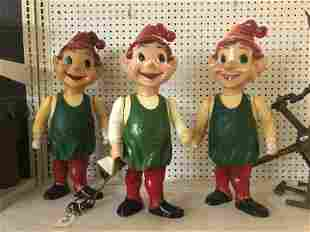 3 1950'S PLASTIC ELVES USED AT THEIR FAMILY CHRISTMAS