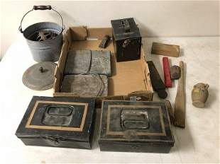 MISC ESTATE LOT OF DOCUMENT BOXES, FOOT WARMERS, ETC
