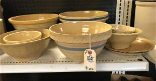 8 PCS OF YELLOW WARE FROM LOCAL ESTATE, SOME HAIRLINE