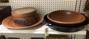 4 PC LOT INCLUDING CAST IRON PAN, WOOD BOWL, ART
