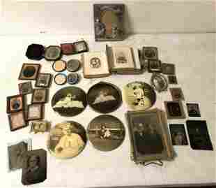 MISC EARLY PHOTOGRAPHY INCLUDES ALBUM W/CDV'S, SOME