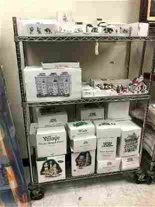 LARGE CART LOT OF DICKENS CHRISTMAS VILLAGE , MOST ALL