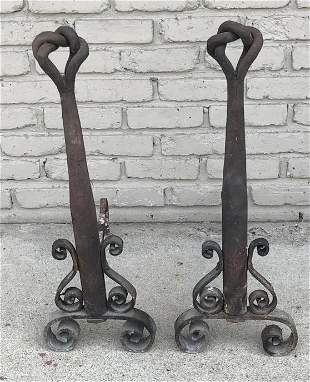PR OF HAND WROUGHT IRON ANDIRONS FROM WOODSTOCK ESTATE,