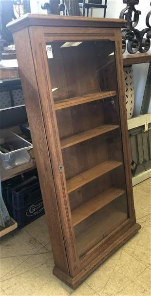 OAK CLOCK CASE MADE INTO A DISPLAY CABINET W/SHELVES, 2
