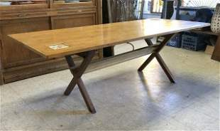 BIRDSEYE MAPLE SAWBUCK DINING TABLE W/COLLAPSIBLE LEGS