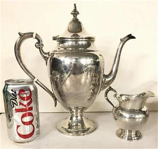 GORHAM STERLING SILVER TEAPOT & CREAMER, FROM LOCAL