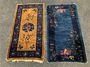 2 OLD HANDMADE CHINESE SCATTER RUGS FROM HUDSON VALLEY
