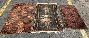 3 OLD HANDMADE ORIENTAL SCATTER RUGS IN AS FOUND ESTATE