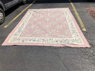 ROOM SIZE INDIAN HAND STITCHED CREWEL WORK RUG, CANVAS