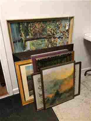 LOT OF 7 PCS FRAMED PRINTS, WWII POSTER, EMBROIDERY,