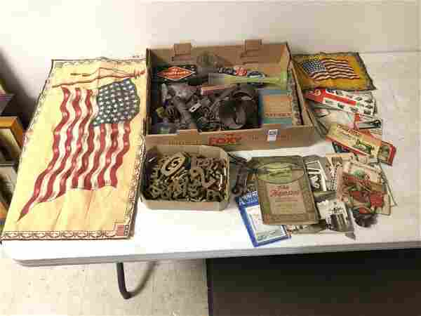 MISC LOT OF ESTATE ITEMS INCUDING OLD WOOD LETTERS,