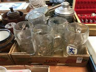 MISC ESTATE LOT INCUDING LARGE MUGS, TINS AND BORDEN'S