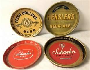 4 OLD BEER TRAYS INCLUDING HENSLER'S, PETER DOELGER, &