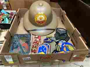BOXLOT OF OLDER BOY SCOUT COLLECTIBLES & MILITARY