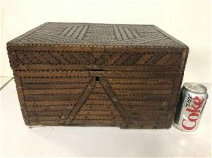 FOLK ART TRAMP ART BOX, MADE FROM OLD BOXES, LABELS