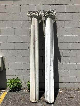 PAIR OLD COLUMNS WITH CAPITALS ON TOP, BOTH CAPITALS