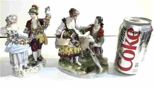 DRESDEN & MEISSEN 19TH & EARLY 20TH C FIGURINES, IN