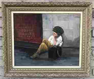 GEORGE SEIDMAN (1898-1973) O/B SHOE SHINE BOY LEANING