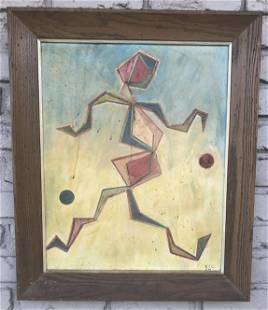MID CENTURY ABSTRACT FIGURE IN GEOMETRIC STYLE,